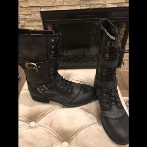 Guess black high combat boots.